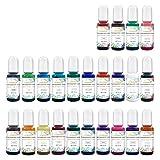 Colorante de resina transparente con pigmento epoxi Tint colorante líquido 24 colores, resina epoxi, colorante grande para resina de petril, posavasos, pintura, tazas (10 ml cada uno)