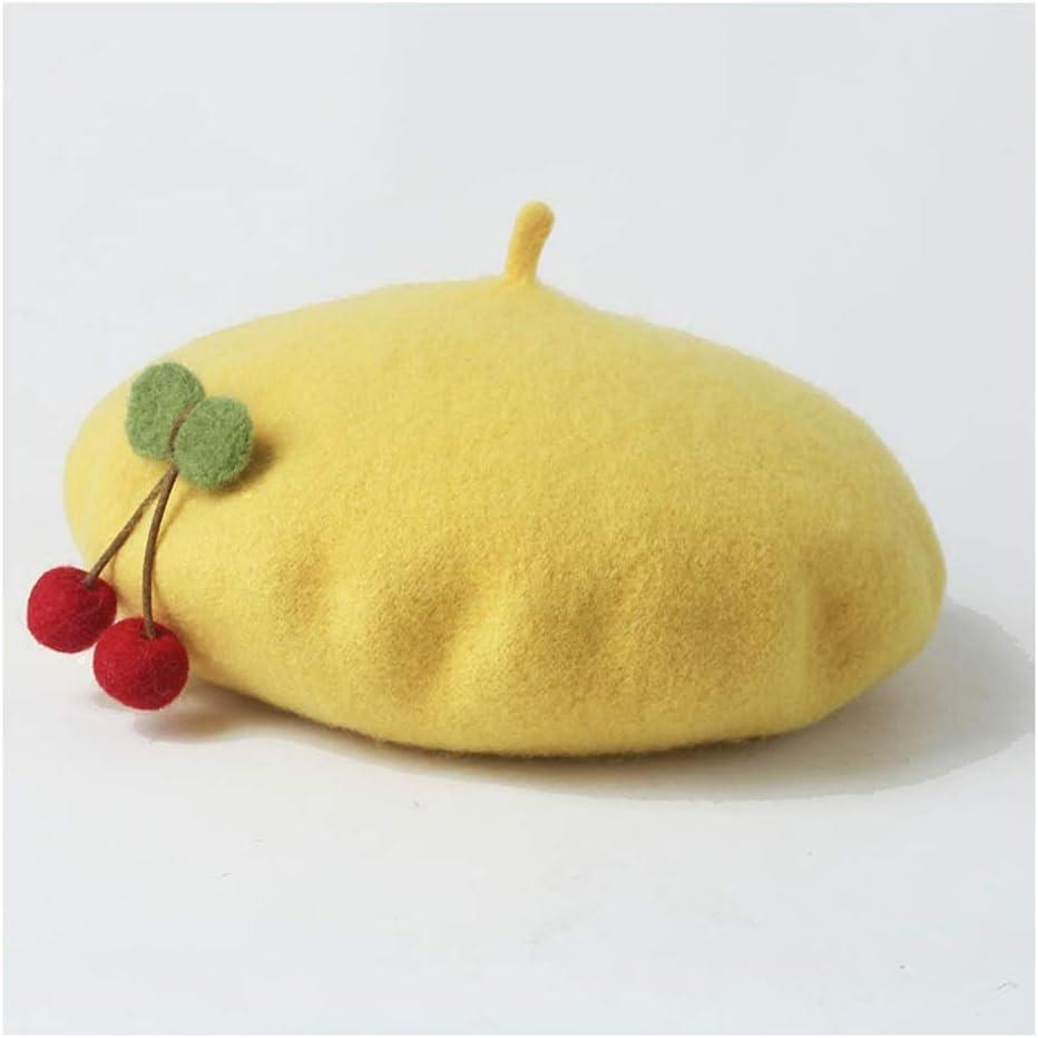 HXGAZXJQ Fall Fashion Women Sweet Soft Plant Wool Berets Winter Cute Painter Hat PANFU-US (Color : 1, Size : 56-58CM)