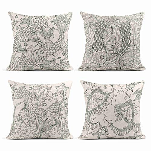 Tarolo Set of 4 Linen Throw Pillow Cover Case College of Fish Black and White Modern Contemporary Paper Cut Decorative Pillow Cases Covers Home Decor Square 16 x 16 Inches Pillowcases