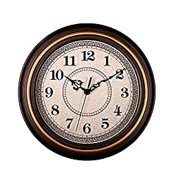 Zaoniy 12-Inch Silent Non-Ticking Round Classic Clock Retro Quartz Decorative Battery Operated Wall Clock for Living Room Kitchen Home Office(Golden Circle)