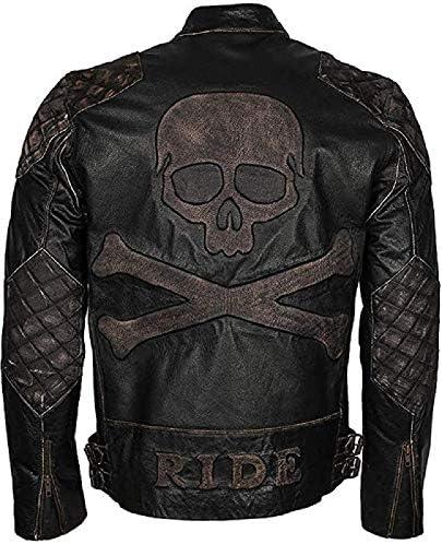 Skull Rider Distressed Men s Genuine Leather Biker Jacket Vintage Black Skull Biker Leather product image