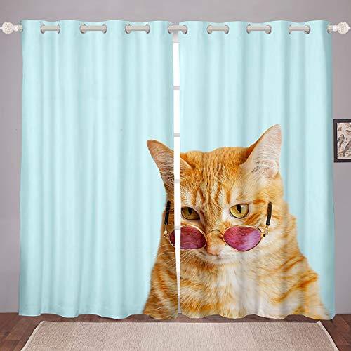 Lindas cortinas de ventana para niños, diseño de gatos de dibujos animados, para dormitorio, sala de estar, para niños, edredón, impresión 3D, cubierta de gafas para amantes de los gatos, 46 x 72