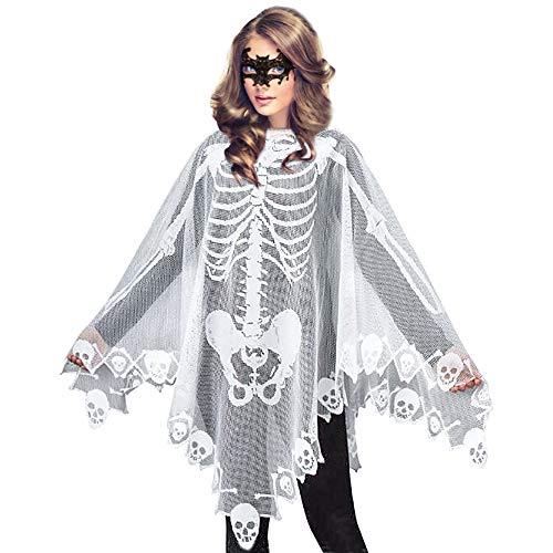 Women's Skeleton Halloween Costume Skeleton Cape Poncho,Includes Masquerade Mask for Halloween(White)