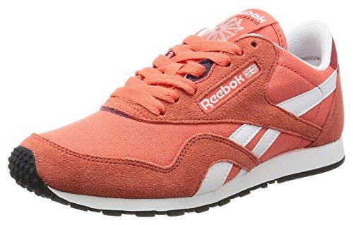 Reebok Cl Nylon Slim Hv, Sneakers para Mujer, Rojo (Fire Fire Coral/Red/White/Purple),...