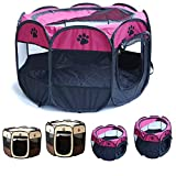 Blumoo Portable Pet Playpen, Foldable Dog Playpens, Indoor/Outdoor Pet Exercise Kennel Tent Mesh Shade Cover Travel Dog Play Tent for Puppies/Dogs/Cats/Rabbits (M:35' 35' 24', Rose)