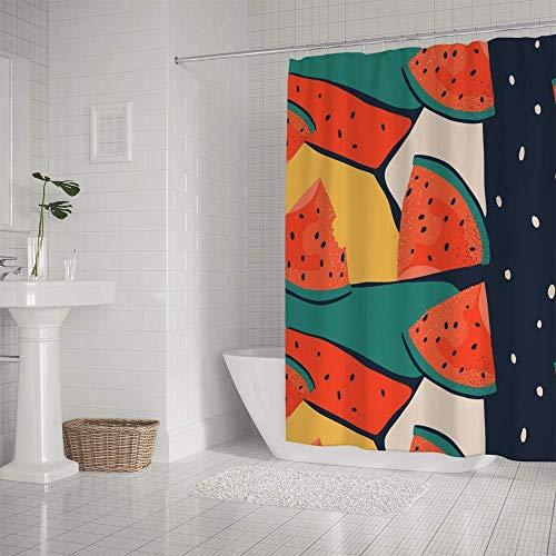 N\A Kuizee Duschvorhang wasserdicht? Moderne Sommer Wassermelone kreative Collage Bad Gardinen Polyester Dekor Badezimmer
