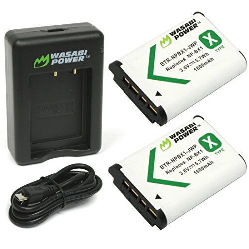 Wasabi Power NP-BX1 Battery (2-Pack) and Dual USB Charger for Sony NP-BX1/M8, Cyber-Shot DSC-HX95, HX99, HX350, RX1, RX1R II, RX100 (II/III/IV/V/VA/VI/VII), FDR-X3000, HDR-AS50, AS300, ZV-1 and More, Black (KIT-BB-NPBX1-01)