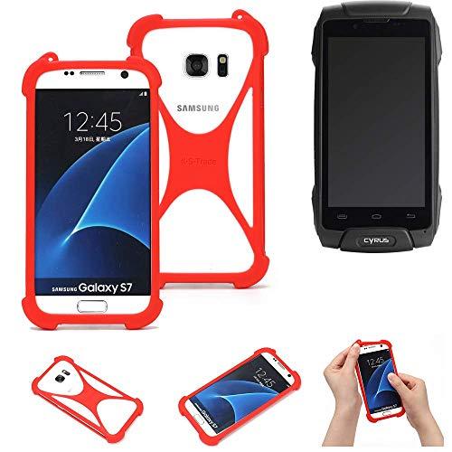 K-S-Trade Handyhülle Für Cyrus CS 30 Schutzhülle Bumper Silikon Schutz Hülle Cover Hülle Silikoncase Silikonbumper TPU Softcase Smartphone, Rot (1x)