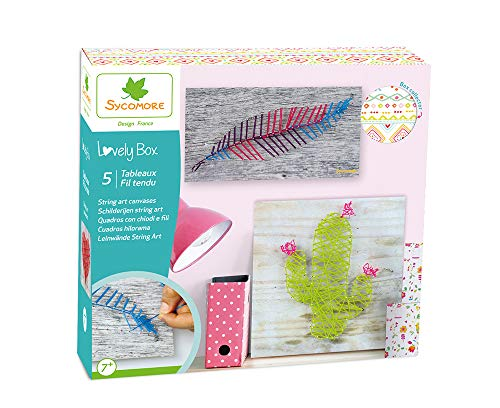 Kit de loisir créatif enfant - 5 tableaux fil tendu - DIY - Lovely Box Grand Modèle Collector - Dès 7 ans - Sycomore - CRE5050