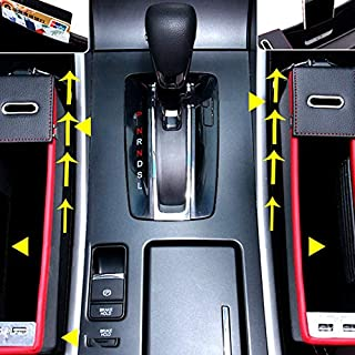 Double USB charging Car seat side storage quilting box Leather storage box black