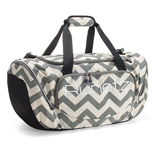 Runetz - Gym Bag for Women and Men - Ideal Workout Overnight Weekend Bag - Sport Duffle Bag - Large Size, 20' x 10' x 10.5' - CHEVRON GRAY