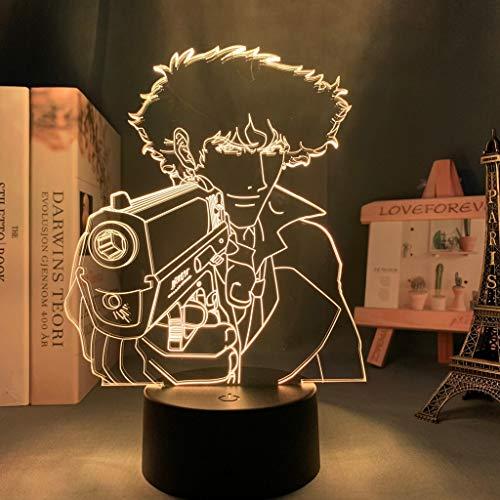 Luz LED Anime Cowboy Bebop Spike para niños Decoración de dormitorio Luz de noche Regalo de cumpleaños Habitación Escritorio Acrílico Lámpara 3d Cowboy Bebop Manga