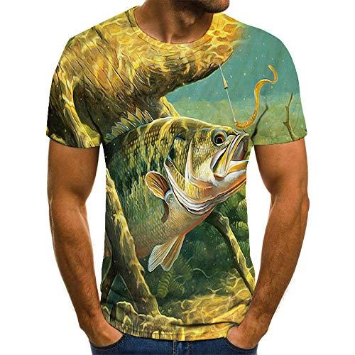 ZIXIYAWEI Unisex 3D Stampato Manica Corta Maglietta Stampata per Uomo alla Moda con T-Shirt da Uomo in Stile Marinaro T-Shirt per Carpe Hobby Oversize Tops-3Xl