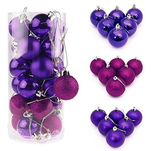 I LOVE DIY Lot de 4/6/8CM Boules de noël pour décoration Sapin diverses quantités et Tailles au Choix(24Pcs - 4cm, Violet)