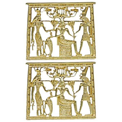 Amosfun Anstecknadel mit ägyptischem Tempel, Horus, Anubis, Isis, Ankh, Kreuz, Pharao, Hut, Revers, Schal, Brosche, König, Tutankhamun, ägyptischer Pharao, 2 Stück