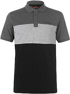 Noir//Blanc Rayures Manches Longues Coton Polo Pierre Cardin Hommes Polo