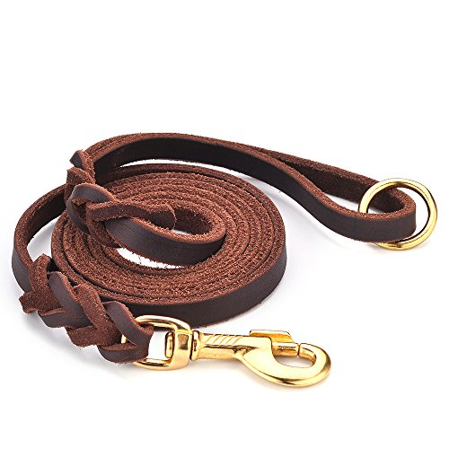 DAIHAQIKO Premium Genuine Leather Dog Leash 4 Foot Military Grade Heavy Duty K-9 Dog Leashes for Large Medium Small Dogs