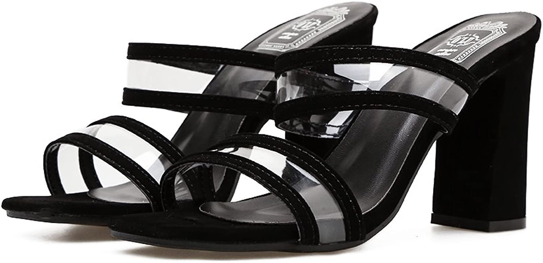 QZUnique Women's Chunky High Heels Sandals Linear Shape Suede Transparent Upper Peep Toes
