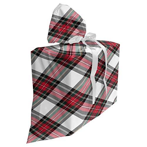 ABAKUHAUS Schotse ruit Cadeautas voor Baby Shower Feestje, Plaid Motif Rhombuses, Herbruikbare Stoffen Tas met 3 Linten, 70 cm x 80 cm, Veelkleurig