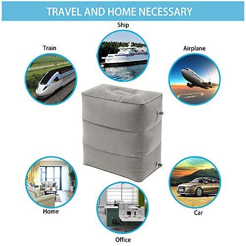 Almohada Inflable de Viaje para Descanso del Pié,Plegable y Ajustable en Altura Almohada de viaje para camping largos vuelos en aviones, coches, autobuses, trenes Gris