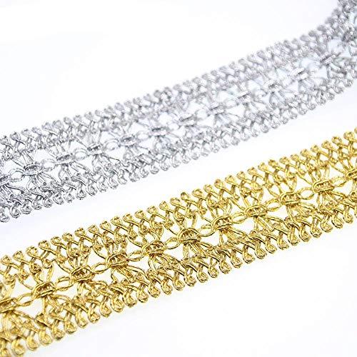 CTOBB 5 Meter Gold/Silber Geflochtene Spitzenbesatz DIY Handwerk Hochzeit Puppe Kleid Band DIY Kleidung Zubehör Kurve Spitze, Silber