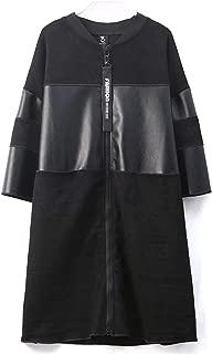 Autumn Ladies New Pu Leather Windbreaker Jacket, Classic Black Stand Collar Short-Sleeved Cardigan Zipper Long Leather