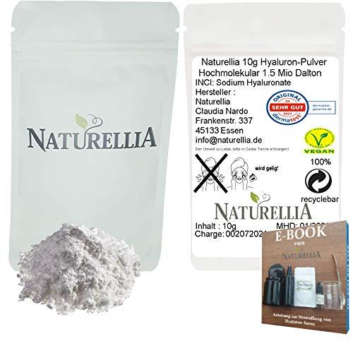 Naturellia 10g Ácido Hialurónico Vegano en Polvo Puro de Alta Molécula Altamente Dosificado Adecuado para la Elaboración de Cremas Cosméticas DIY