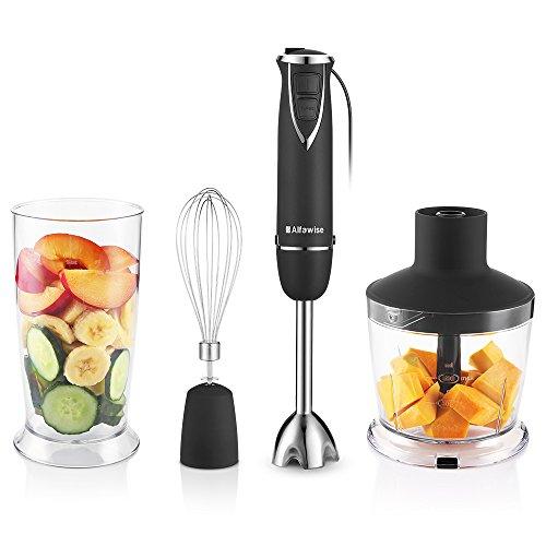 Staafmixer met 6 snelheden, 600 W, multifunctionele mixer voor 4-in-1 multifunctionele mixer met hakselaar/eiermixer/BPA-vrij
