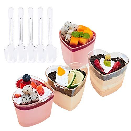 Foraineam 50 Pack 5 oz. Dessert Cup with 50 Spoons - Clear Plastic Appetizer Cups - Heart-shape Parfait Cup Serving Bowls - Disposable or Reusable