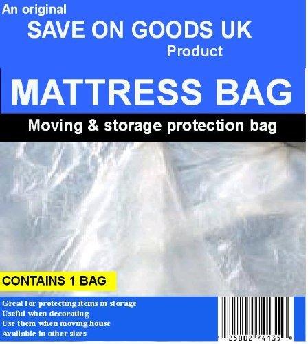 Save On Goods UK 6ft Super King size mattress bag. Strong heavy duty plastic polythene matress transport removal protector bag