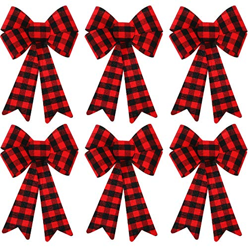 WILLBOND 6 Pieces Large Christmas Wreath Bow Buffalo Plaid Christmas Bow PVC Plastic Xmas Plaid Check Wrapping Bow for Christmas Indoor Outdoor Decorations (Red and Black)