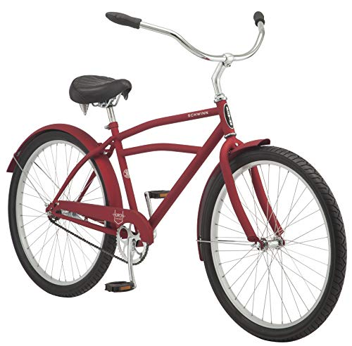 Schwinn Huron Adult Beach Cruiser Bike, Featuring 17-Inch/Medium Steel Step-Over Frames, 1-Speed Drivetrains, Red