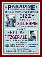 ポスター デニース ローレン Dizzy Gillespie and Ella Fitzgerald at Paradise 1947 額装品 ウッドベーシックフレーム(レッド)