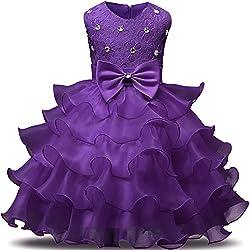 Deep Purple Kids Ruffles Lace Party Dress