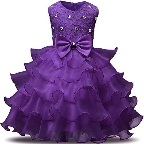 NNJXD Mädchen Kleid Kinder Rüschen Spitze Party Brautkleider Größe(110) 3-4 Jahre Tiefes Lila