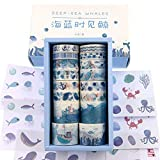 Watercolor Navy Blue Ocean Washi Masking Tape Bulk/Marine Whale...