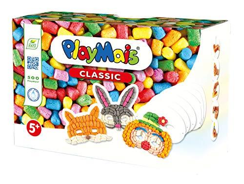 PlayMais FUN TO PLAY Masks Bastel-Set für Kinder ab 3 Jahren   Motorik-Spielzeug mit 500 PlayMais und 6 Masken aus Karton zum Gestalten   Natürliches Spielzeug   Fördert Kreativität & Feinmotorik