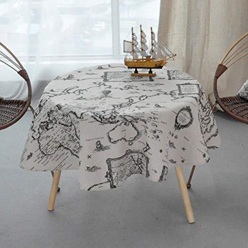 EDCV Home tafelkleed Katoen Rond Tafelkleed Kleur Geel Rijst Woord Grijs Pijl Katoen en linnen Bedrukt tafelkleed Custom, schoorsteenmantels