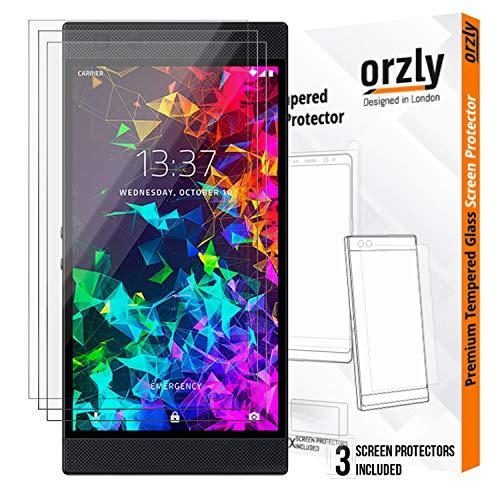 Orzly - Panzerglas Bildschirmschutzfolie Razer Phone 2 (2018) - 3X Hartglas Schutzfolien für Razer Phone 2 mit Handyhülle Schütz – Schwarz
