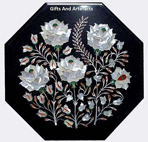 Geschenken En Artefacten Zwarte Octagon Einde Tafel Top Bijzettafel Moeder Van Parel Inlay Werk Elegante Home Assents 12 Inches