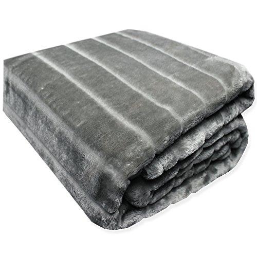 Haus & Deko Kuscheldecke Cashmere Touch Sofadecke ca. 150x200 cm Plüschdecke Fell Streifen Nerz Optik weiche Decke in Silber Grau