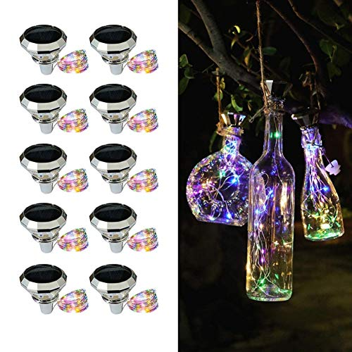 AJIC Solar Wine Bottle Lights 2M 20 LEDs Solar String Fairy Light Outdoor Waterproof Solar Diamond Cork Lights for Party Christmas Wedding Center Table Decoration (Color : Multi-colored)