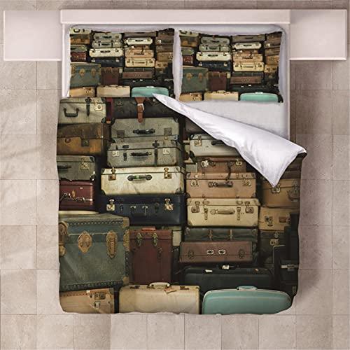 Set copripiumino per biancheria da letto valigia per bambini stampato in 3D Camera da letto con chiusura a cerniera Microfibra 2 federe 3 pezzi