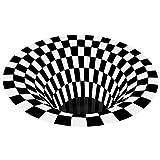 Alfombra 3D de ilusión óptica visual ilusión vórtice alfombra antideslizante para sala de estar, dormitorio, comedor, cocina, piso