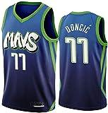 DCCSport Hombre Ropa de Baloncesto Dallas Mavericks 77 Doncic Jersey Camiseta de Baloncesto da Bordado #77 (Blue, M)