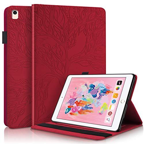 YKTO Funda Protectora de Cuero con Case Inteligente para Tableta de PU con Soporte, Portalápices, Ranuras para Tarjetas de Billetera para Despertador/Sueño Auto para iPad 5/6/8/9- Rojo