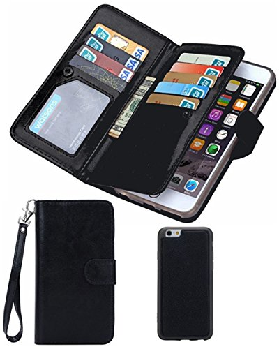 Black Deals Friday Cyber Deals Monday Sales-iPhone 8 iPhone 7 Leather Wallet Case,Valentoria Premium Vintage Leather Wallet Case Magnetic Detachable Slim Back Cover Card Holder Slot Wrist Strap
