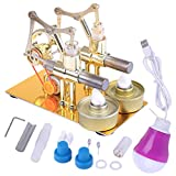 FenglinTech Stirling Engine Kit, Hot Double Cylinder Bulb External Combustion Heat Steam Power Metal Stirling Engine Model Toy