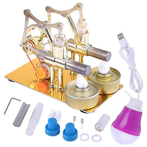 FenglinTech Stirling Engine Kit, Hot Double Cylinder Bulb External Combustion Heat Steam Power Metal Stirling Engine Model Toy