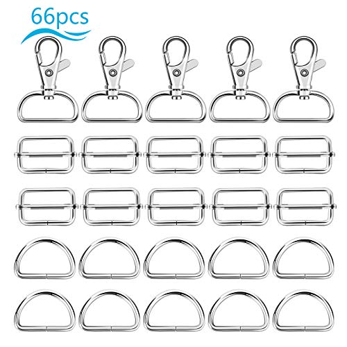 Bag buckle, ZERHOK, metal sliding buckle, 66pcs, D-shape, rectangle and one with hook, silver adjustable buckle, bag buckle.